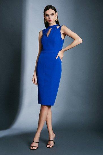 Blue Cut Out Panelled Pencil Dress