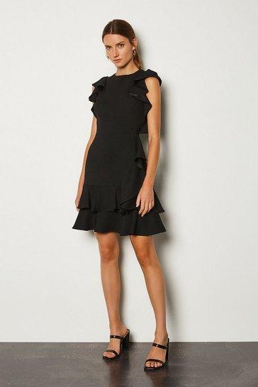 Black Frill Sleeve Hem Dress