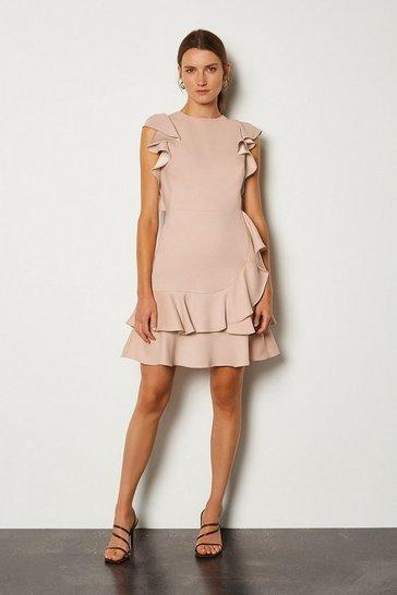 Blush Frill Sleeve Hem Dress