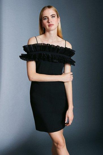 Black Pleated Organza Bardot Mini Dress