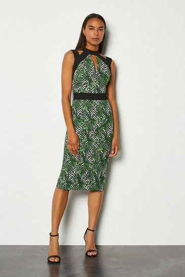 Green Jacquard Cut Out Pencil Dress