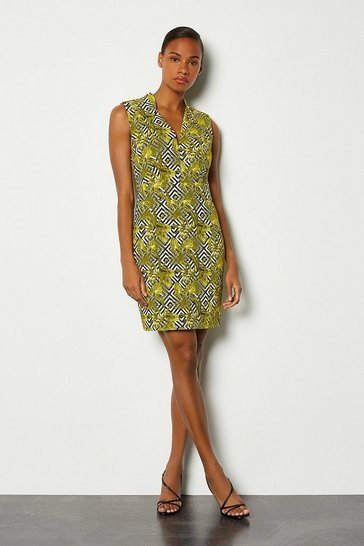Lime Jacquard Cut Out Mini Dress