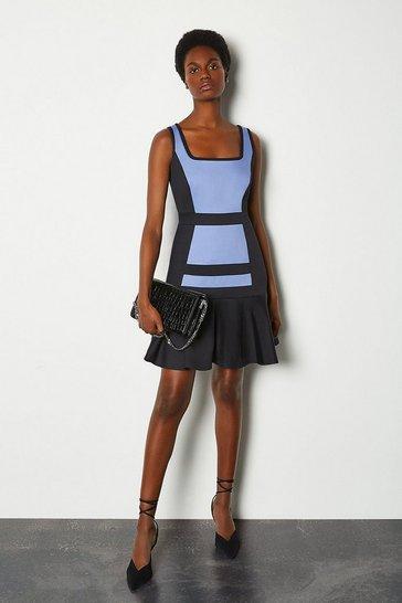 Blue Colour Blocked Cotton Sateen Flippy Hem Dress