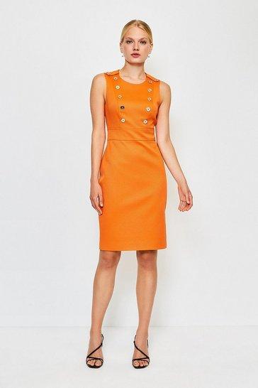 Orange Button Detail Sleeveless Pique Dress