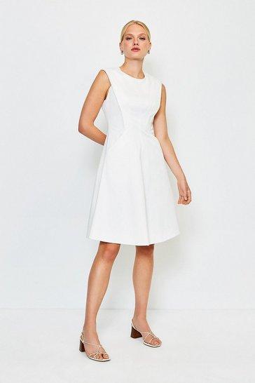 Ivory Sculptured Pique Dress