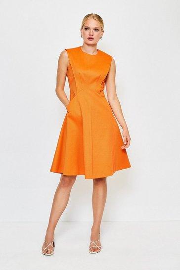 Orange Sculptured Pique Dress