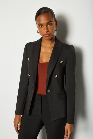 Black Button Detail Fitted Jacket