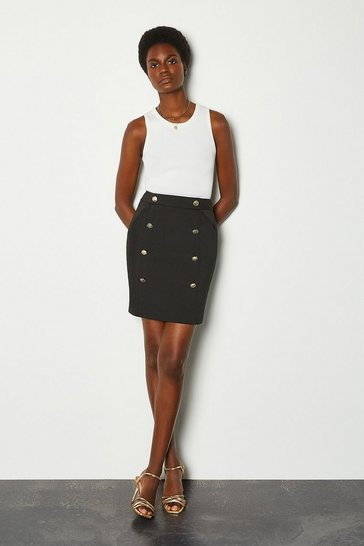 Black Button Detail Short Skirt