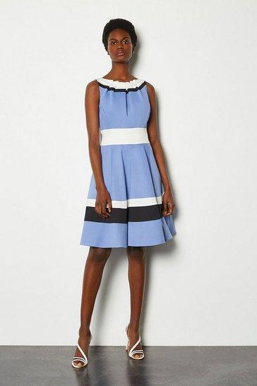 Blue Colour Blocked Full Skirt Cotton Sateen Dress