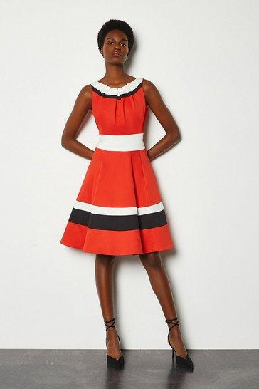 Red Colour Blocked Full Skirt Cotton Sateen Dress
