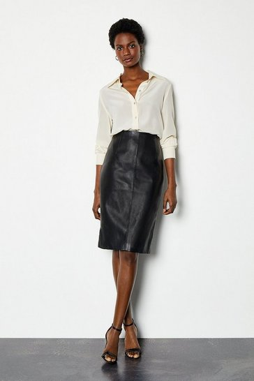 Black Faux Leather Pencil Skirt