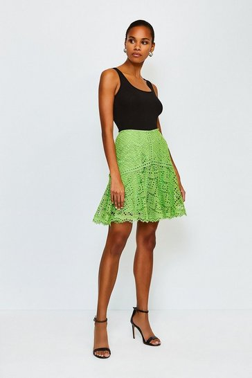 Green Chemical Lace Ruffle Skirt