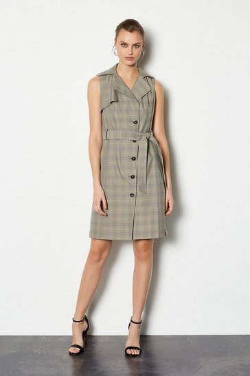 Multi Check Sleeveless Belted Tailored Dress