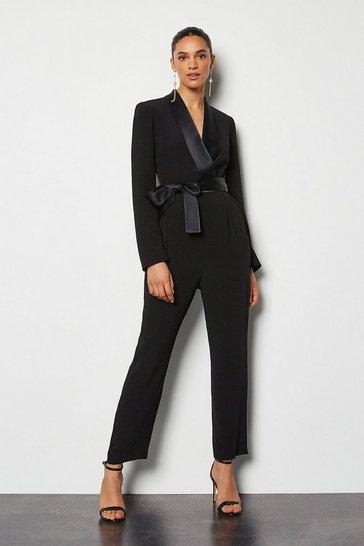 Black Tuxedo Wrap Jumpsuit