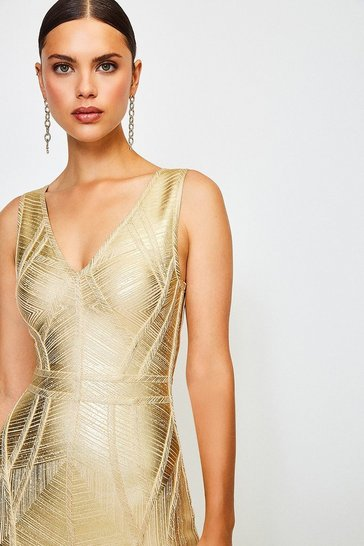 Gold Metallic Bandage Knit Dress