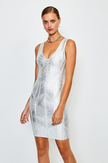 Silver Metallic Bandage Knit Dress