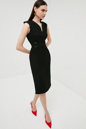 Black Square D Ring Pencil Dress