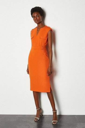 Orange Square D Ring Pencil Dress