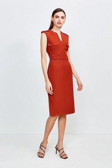 Rust Square D Ring Pencil Dress