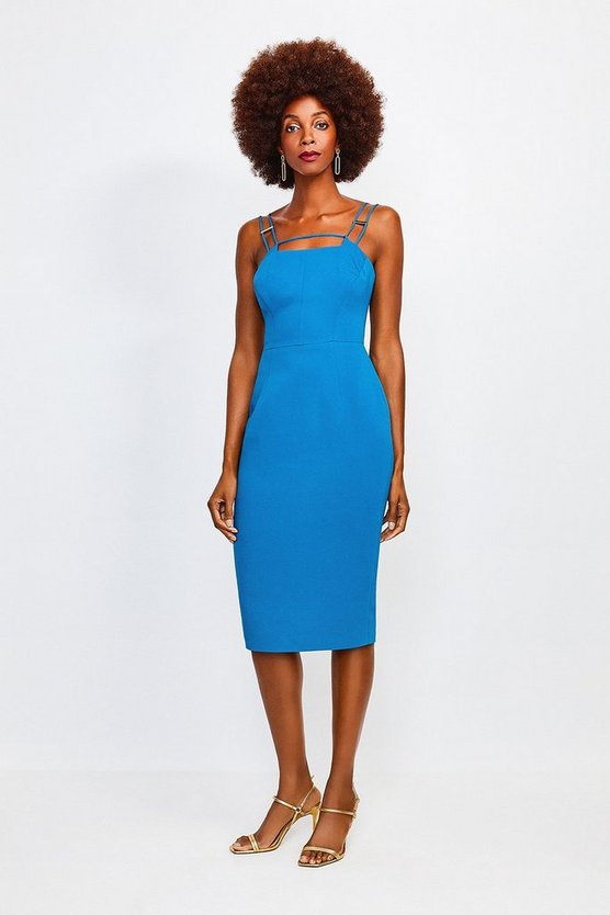 Blue Strap and Bar Sexy Zip Back Dress