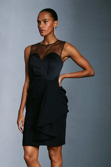 Black Organza Top Drape Detail Sleeveless Dress