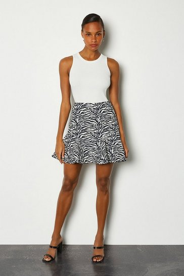 Blackwhite Zebra Jacquard Flippy Mini Skirt