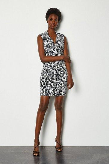 Blackwhite Jacquard Cut Out Mini Dress