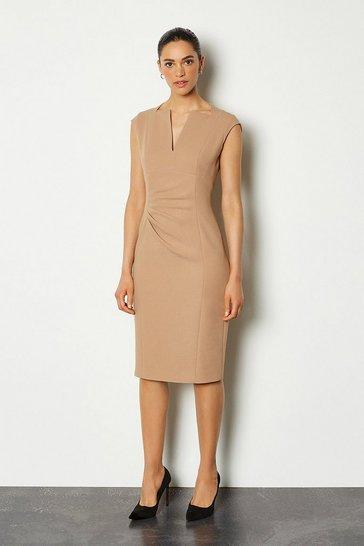Camel Envelope Neck Sleeveless Dress