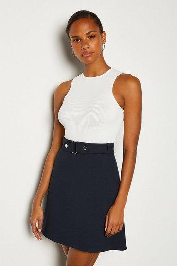 Navy Cinch Waist A-Line Skirt