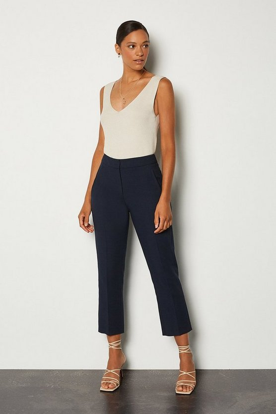 Navy Compact Stretch Tailored Trousers