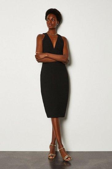Black Deep V Strappy Pencil Dress