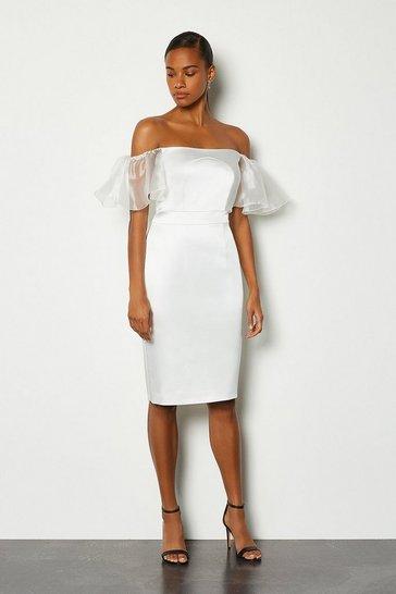 Ivory Bardot Cut Out Organza Sleeve Pencil Dress