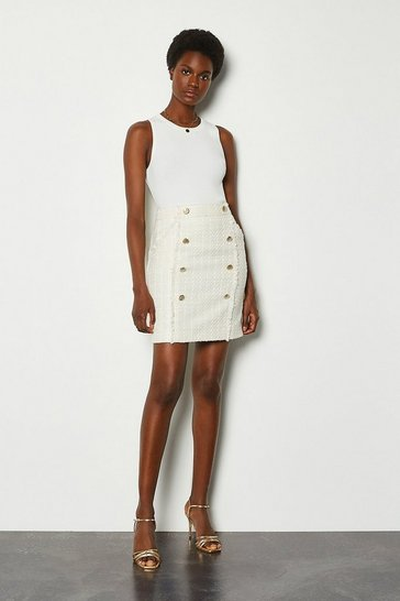 Ivory Sparkle Tweed Button Skirt