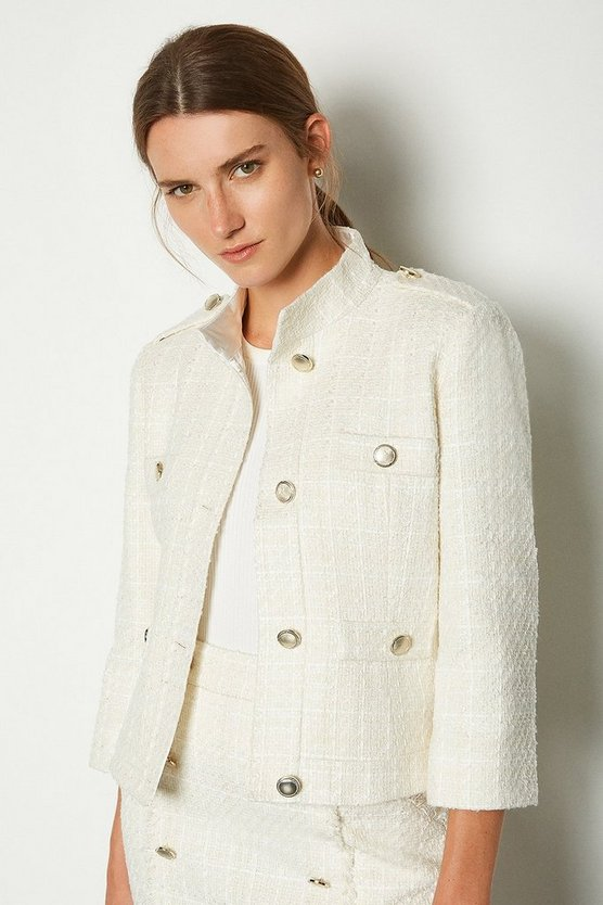 Ivory Sparkle Tweed Button Jacket