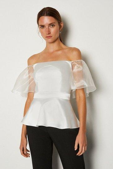 Ivory Bardot Cut Out Organza Sleeve Top