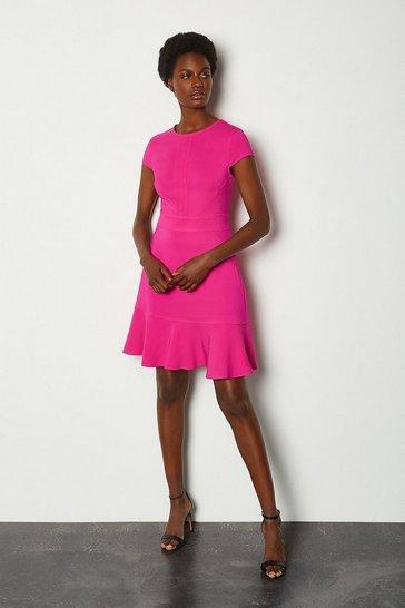 Pink Topstitch Cap Sleeve Flippy Hem Dress
