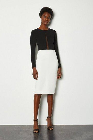 Blackwhite Long Sleeve Power Mesh Insert Pencil Dress