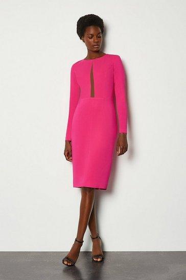 Pink Long Sleeve Power Mesh Insert Pencil Dress