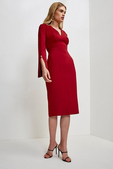 Brick Long Sleeve Deep V Neck Pencil Dress