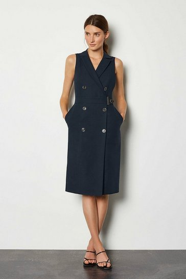 Navy Sleek And Sharp Tailoring Dress