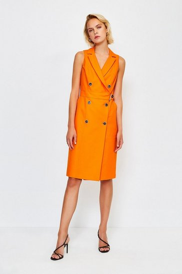 Orange Sleek And Sharp Tailoring Dress