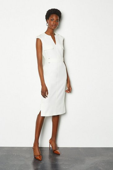 Ivory Square D-Ring Pencil Dress