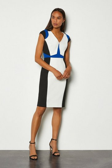 Cobalt Colour Block Cap Sleeve Shift Dress