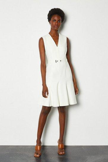 Ivory Sleeveless Belted Flippy Hem Dress