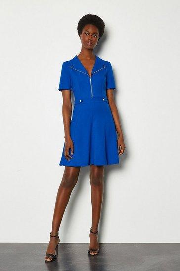 Cobalt Zip Placket Short Sleeve A-Line Dress