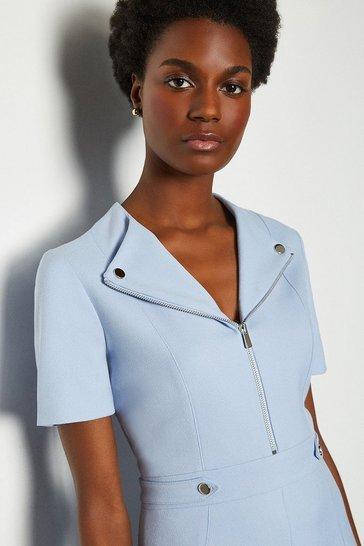 Pale blue Zip Placket Short Sleeve A-Line Dress