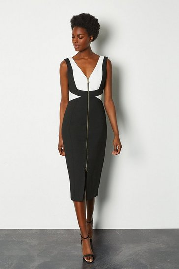 Black Panel Block Pencil Dress