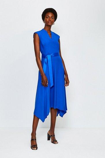 Cobalt Notch Neck Sleeveless Crepe Midi Dress