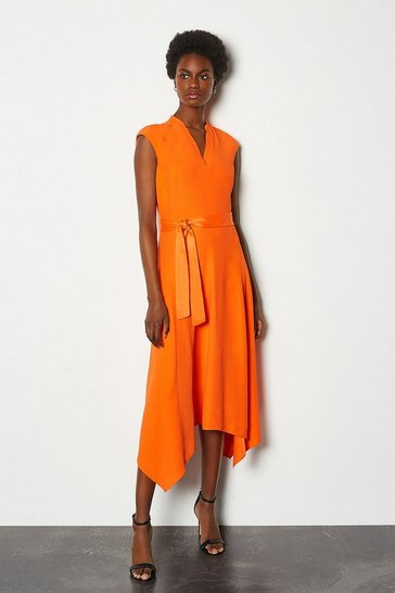 Orange Notch Neck Sleeveless Crepe Midi Dress