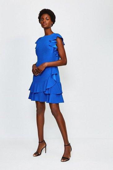 Cobalt Frill Sleeve Hem Dress